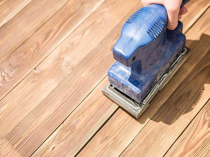 sanding wooden floor