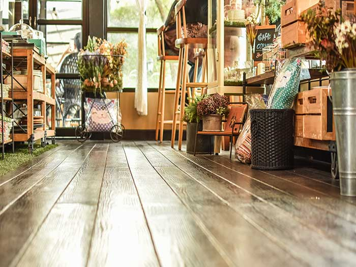 shop with wooden floor