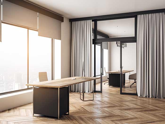 office room with wooden floor